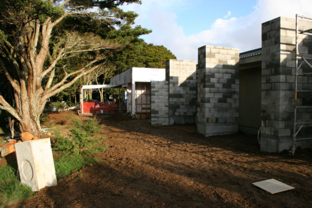 Early stages of landscaping at the spa