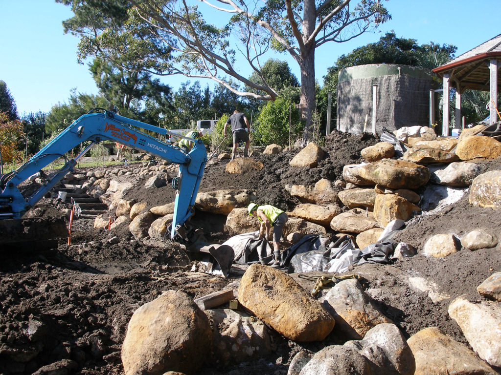laying out rocks and pathways