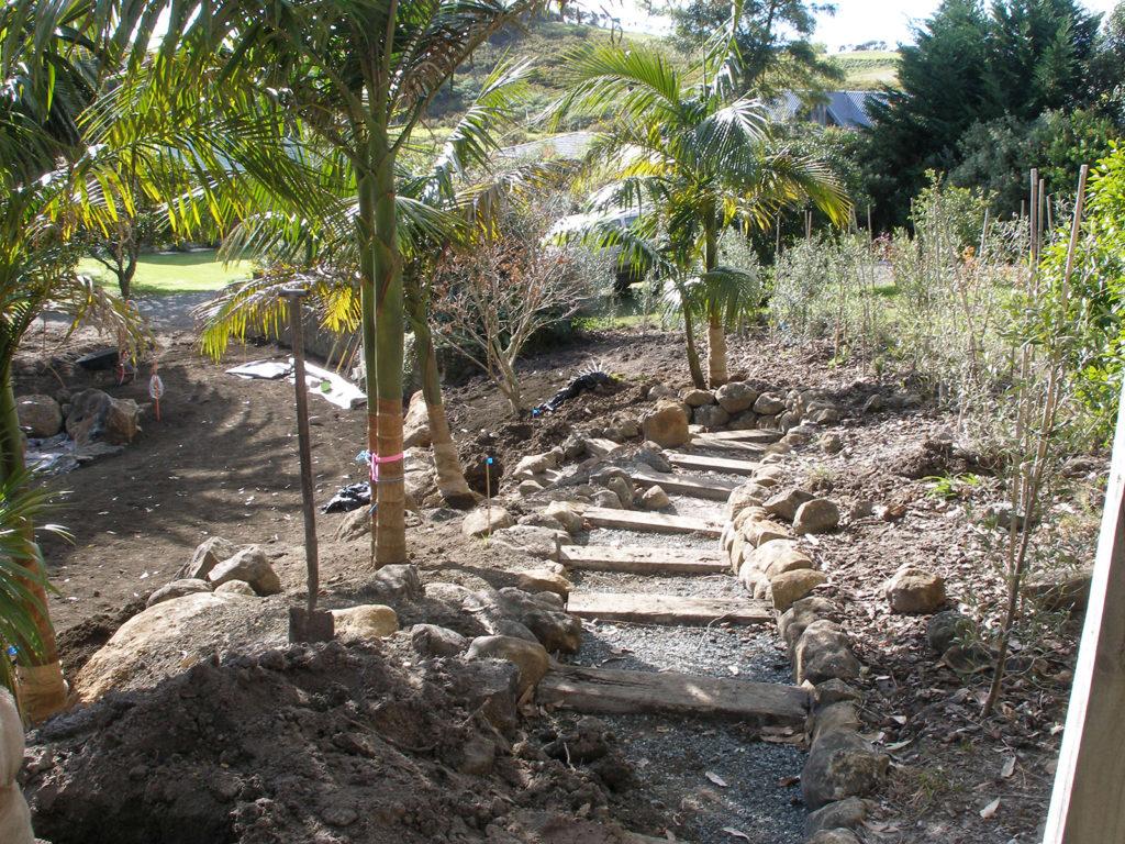 building the railway sleeper pathways