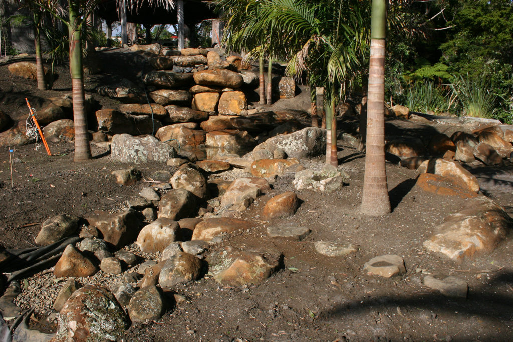 subtropical garden planting begins, large palms planted
