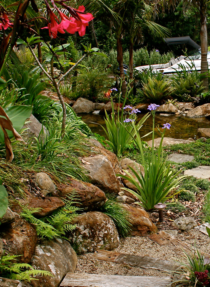 subtropical plantings and pond